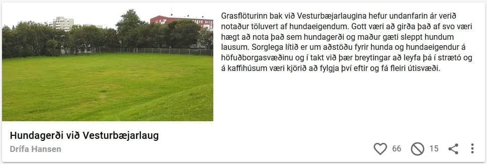 Samþykkt tillaga um hundagerði við Vesturbæjarlaug